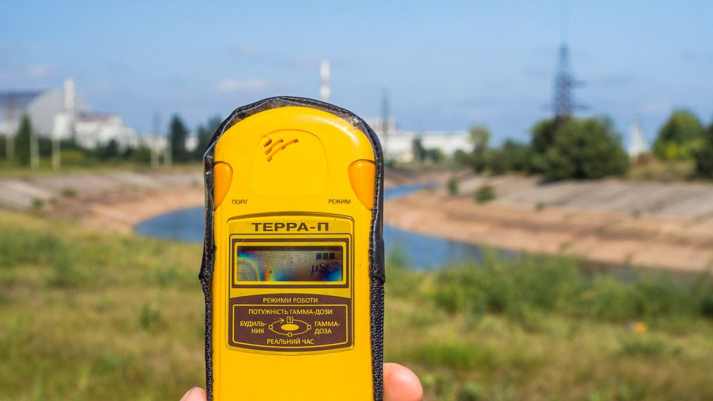 The Geiger counter nearby to the reactor. Not too high. chernobyl