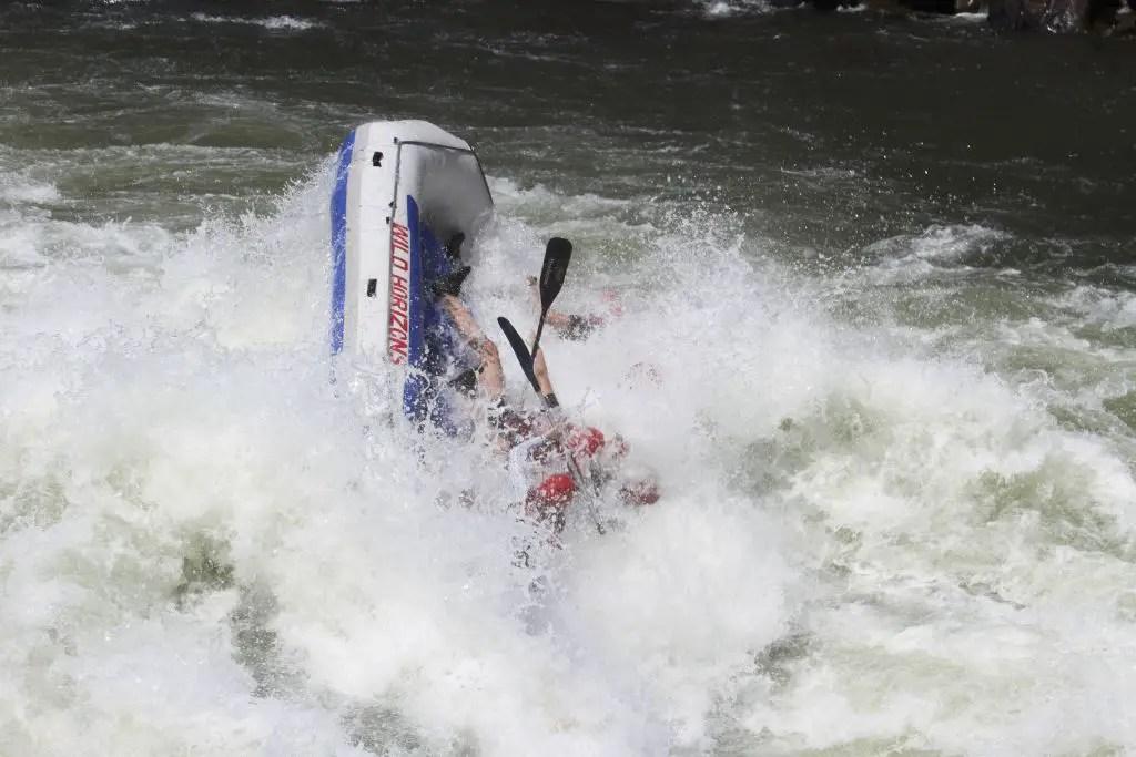 Victoria falls white water rafting capsizing
