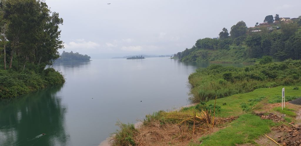 Views of Lake Kivu as we walk from Rwanda to DRC