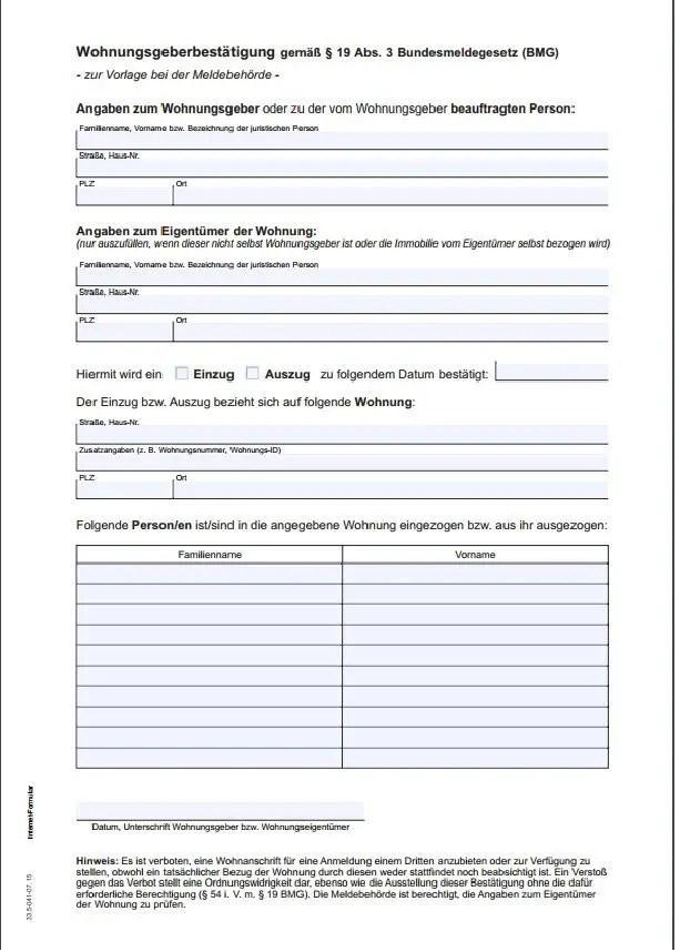 Wohnungsgeberbestätigung landlord confirmation form germany