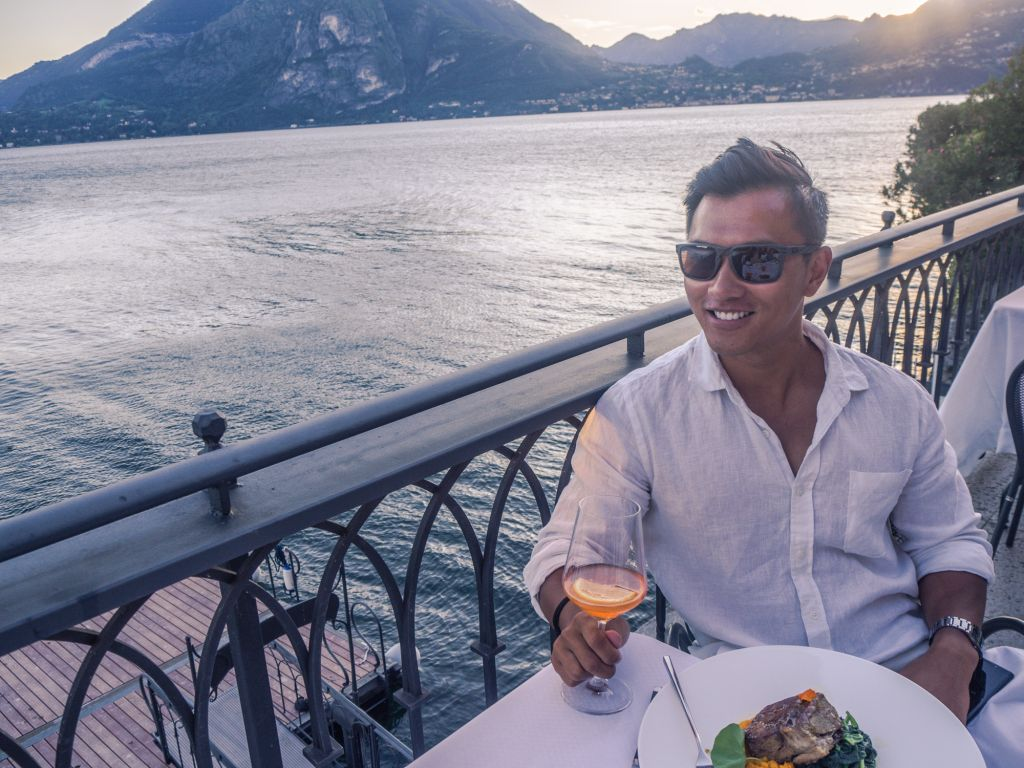 Lake como eating