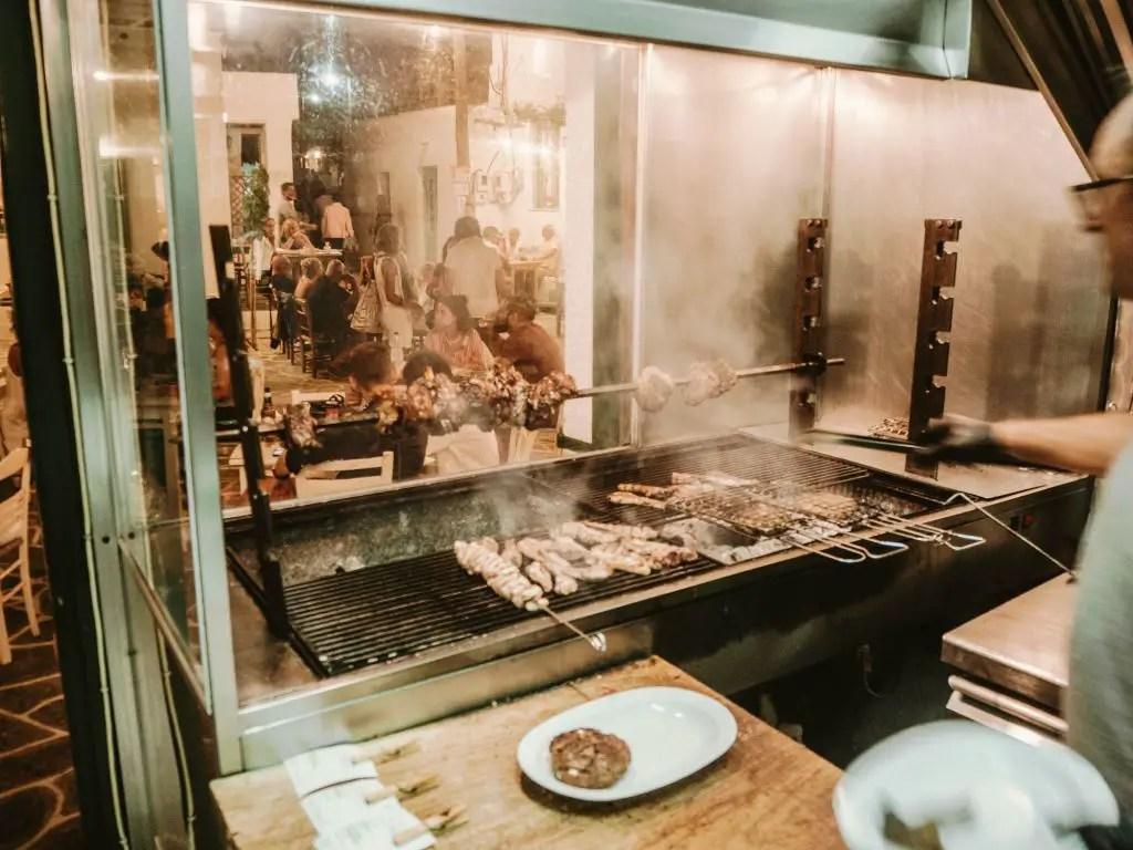 Grilled meats in Folegandros