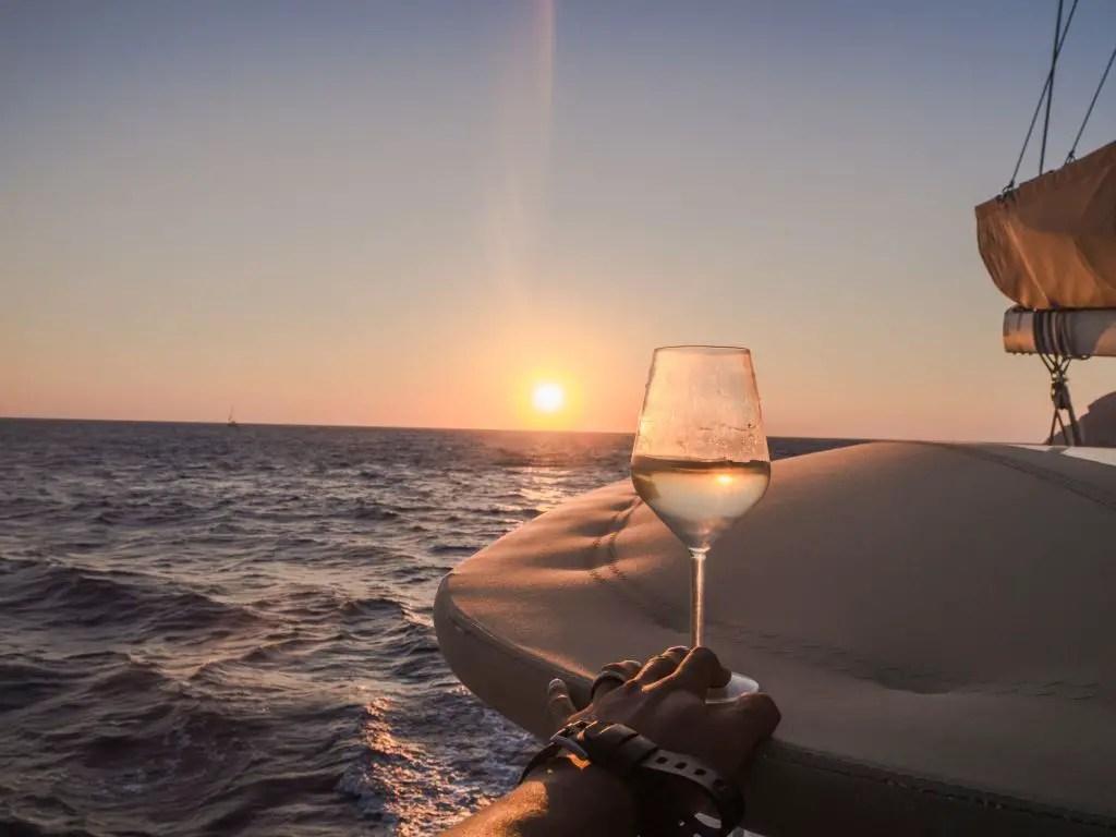 Santorini catamaran sunset cruise