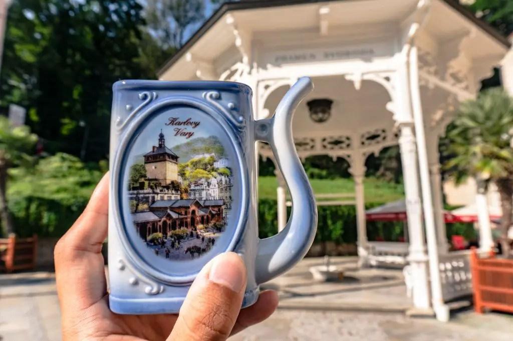 glass mug karlovy vary czech republic