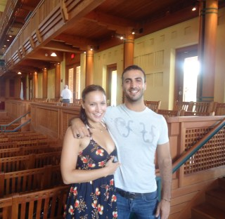 Filipe Lara and his girlfriend after a dress rehearsal of his orchestral work Onda