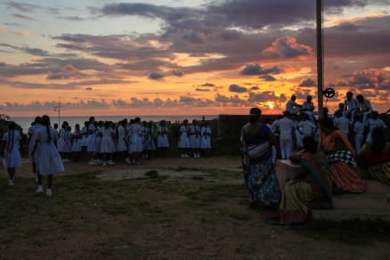 A school class in Galle at sunset, Sri Lanka