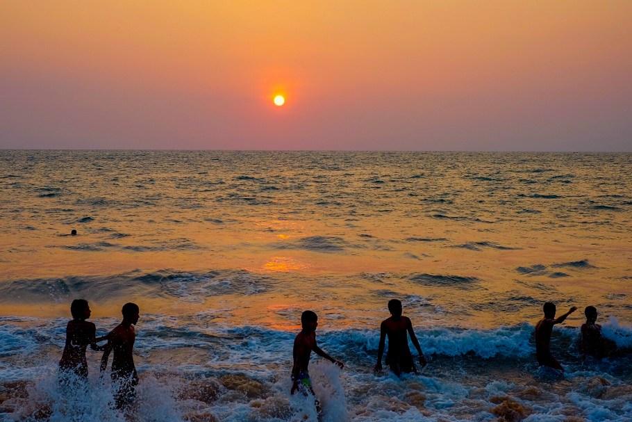 Childring playing in the sea Negombo Sri Lanka