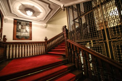 Stairs and lift at the colonial Queens hotel, Kandy, Sri Lanka