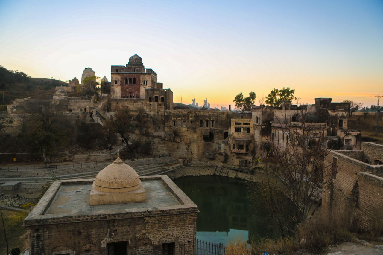 Katas Raj, a Hindu Temple in the north of Pakistan, after sunset