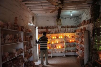 Souvenir shop in Khewra, selling lamps of salt