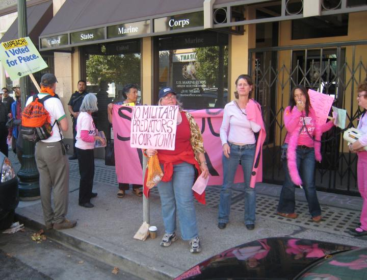 """Marine Corps recruiting in Berkeley, California is shut down by the pro-homosexual, pro-abortion """"Code Pink""""."""