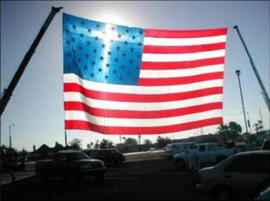 Cross In American Flag