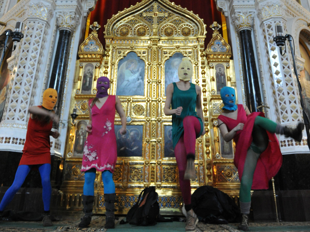 """Pussy Riot"" interrupting a solemn church service at Moscow's Cathedral of Christ the Savior on 12 February 2012."