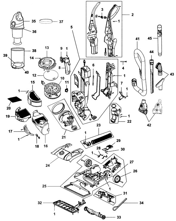 Hoover Windtunnel Parts Diagram : hoover, windtunnel, parts, diagram, Hoover, WindTunnel, Bagless, Upright, Vacuum, UH70935