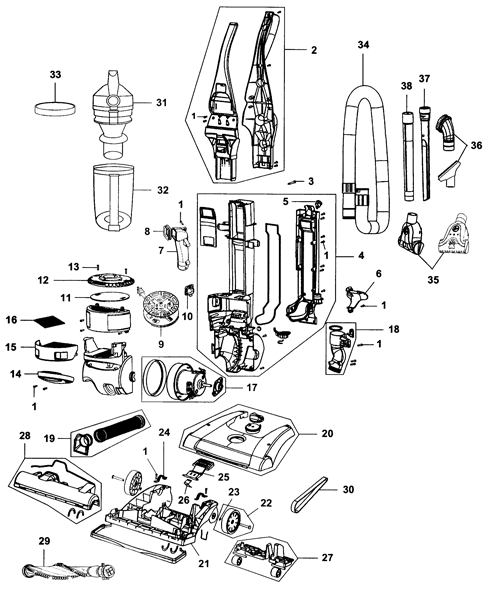 Hoover Windtunnel Parts Diagram : hoover, windtunnel, parts, diagram, Hoover, WindTunnel, Rewind, Bagless, Upright, UN70830, UH70830