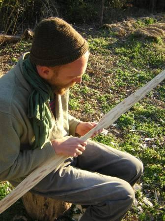 Jan working on his elm bow circa 2006