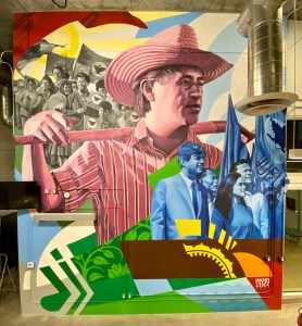 A mural of Cesar Chavez and other civil rights activists