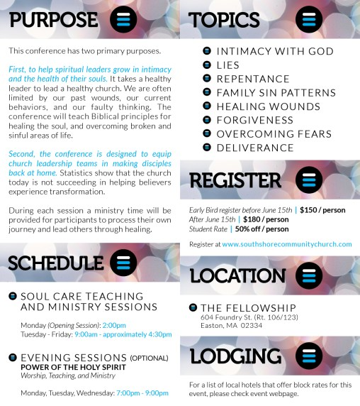 Soul Care Equipping Conference Brochure / Branding (back)