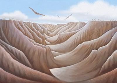 "Labyrinth Acrylic on Panel 10"" x 42"""