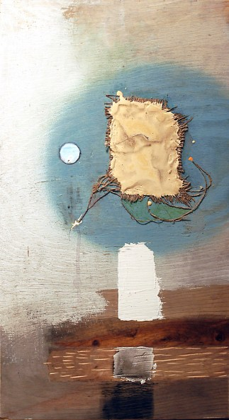 "on notwithstanding, mixed media on plywood, 16"" x 24"", 2005, private collection"