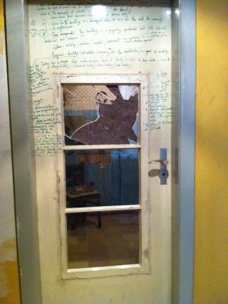 huguenot house bathroom door-from Preus' installation Anthem/Requiem.