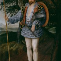 Marcus Gheeraerts the Younger: a complete collection of his signed, dated, documented and inscribed works, featuring Captain Thomas Lee in Irish Dress, oil on canvas, 1594, in Tate Britain. (33 paintings).