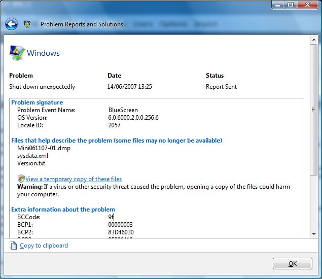 Problem Report Screen with Blue Screen Error Message