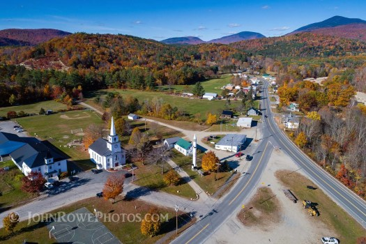 aerial view of warren nh fall foliage