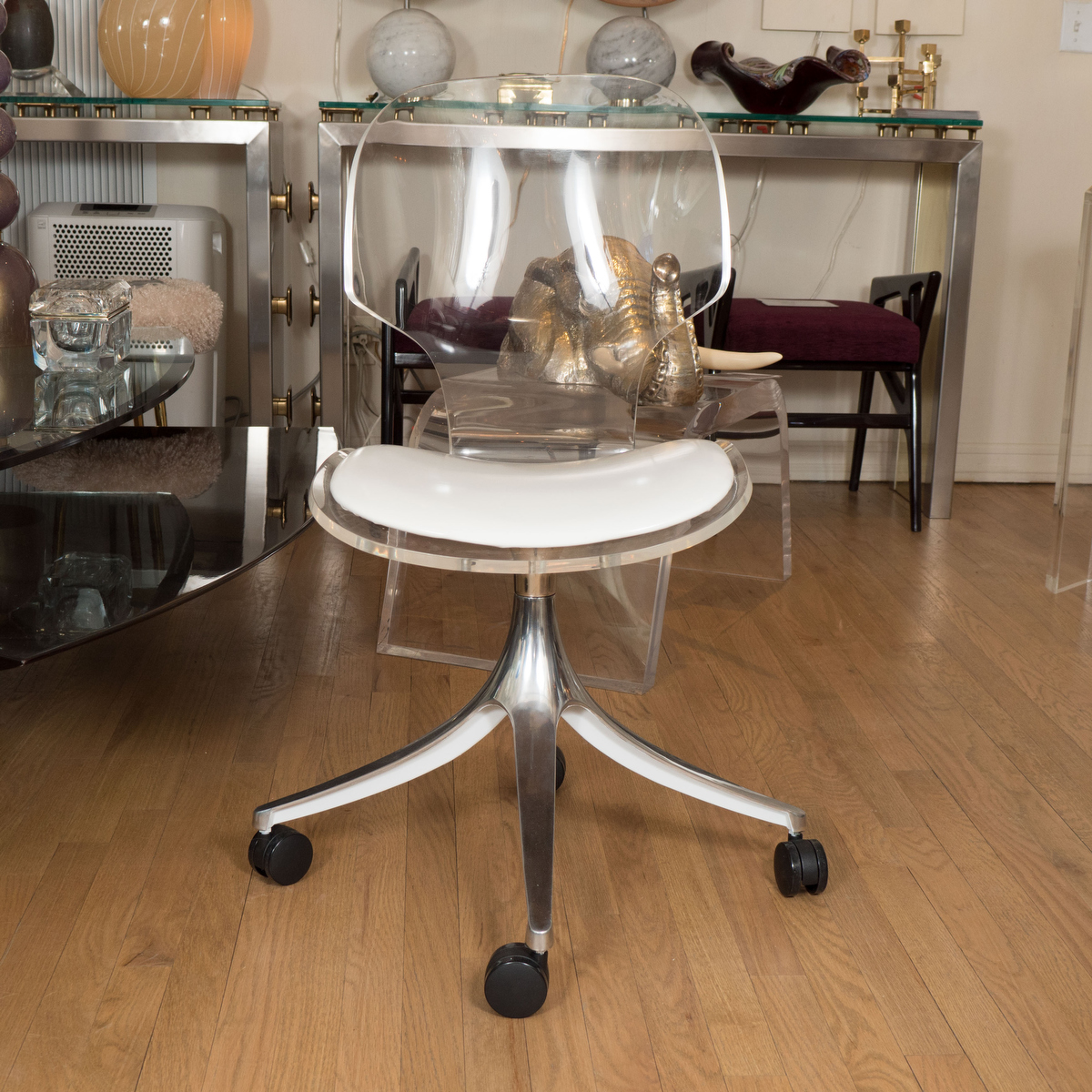 Acrylic Desk Chair Rolling Lucite Chair Desk Chairs John Salibello