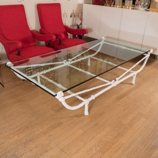 White Wrought Iron Coffee Table