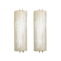 Pair of ribbed Murano glass sconces