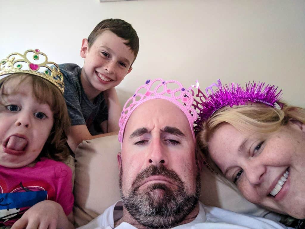 my family wearing crowns