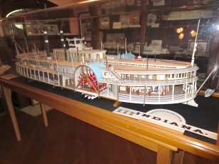 One of the highlights of the museum is this beautifully detailed model of the steamer Indiana. The nameboard is removed to reveal the detail of the port sidewheel.