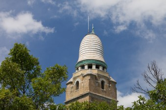 Observation deck at the top, with terra cotta roof.