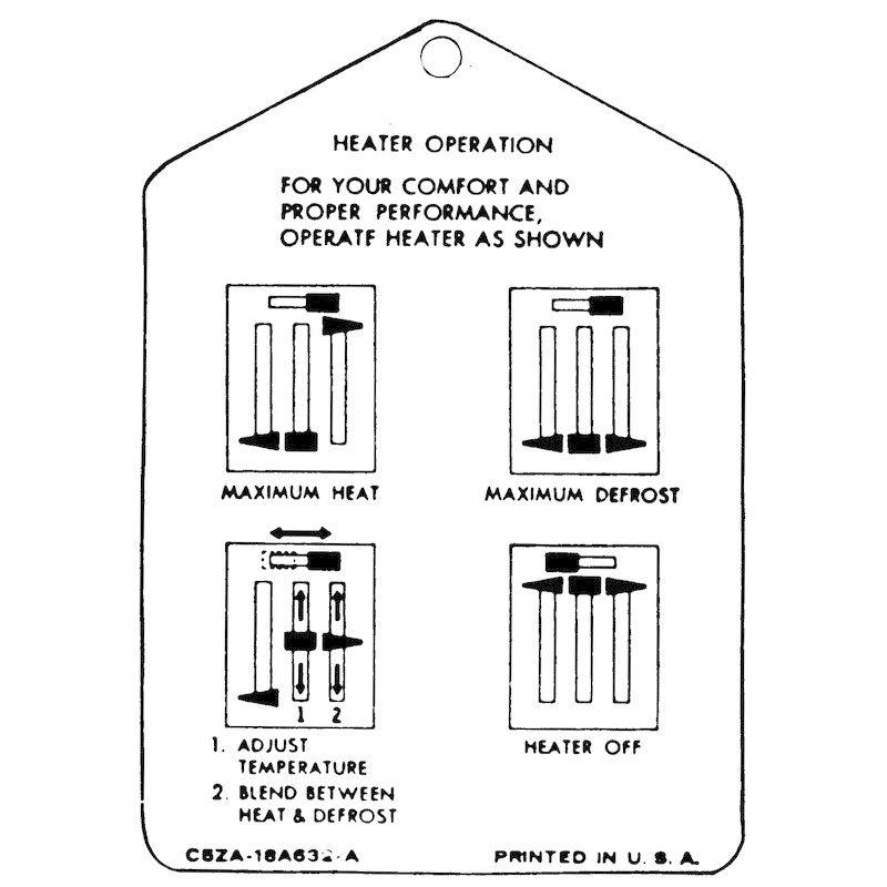 1965-1966 Mustang Interior Heater Instruction Tag