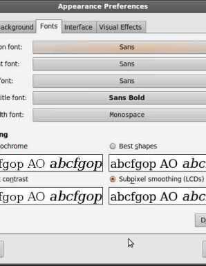 Fonts tab