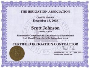 Irrigation Association Certified Irrigation Contractor