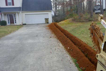 Trenches dug with a trencher