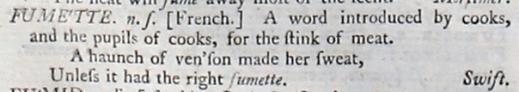 facsimile image of Johnson's 1755 entry for fumette, n.s. https://johnsonsdictionaryonline.com/1755/fumette_ns