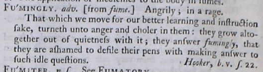 facsimile image of Johnson's 1755 entry for fumingly, adv. https://johnsonsdictionaryonline.com/1755/fumingly_adv