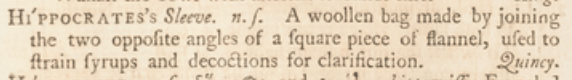 facsimile image of Johnson's 1755 entry for Hippocrates's sleeve: https://johnsonsdictionaryonline.com/1755/Hippocratess_sleeve_ns