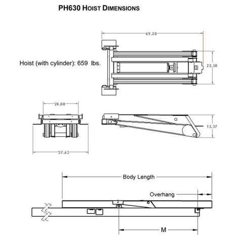 Premium Supply PH630 Power Hoist Dimensions