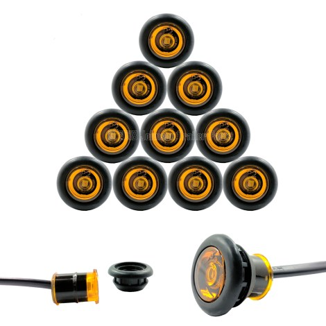 """10 Pack - 3/4"""" Amber Side Marker LED Lights (P2 Rated)"""