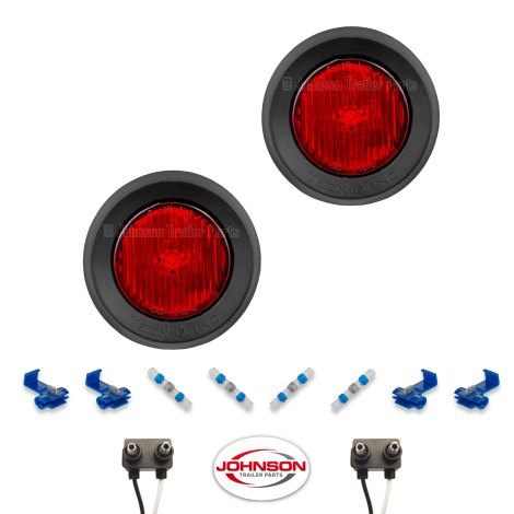 """S30   Pair of 2"""" Grommet Mount Red LED Side Markers"""