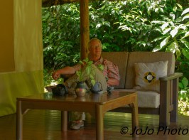 Mark relaxes at our tent at Sanctuary Gorilla Forest Camp in Bwindi