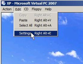 Virtual PC 2007 EDIT > Settings