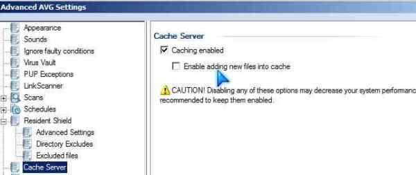 AVG Cache Server settings
