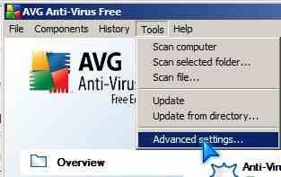 AVG control Panel Advance Settings