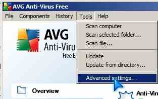 AVG control Panel Advance Settings