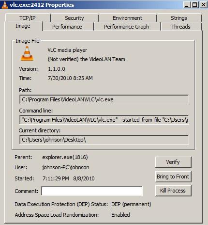 Process Explorer process properties
